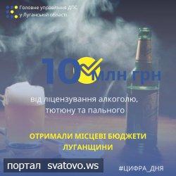 Місцеві бюджети Луганщини отримали майже 10 млн грн від ліцензування алкоголю, тютюну та пального. Новини ГУ ДПС у Луганській області