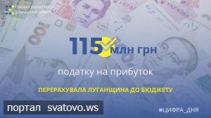 Луганщина перерахувала до бюджету понад 115 млн грн податку на прибуток. Новини ГУ ДПС у Луганській області