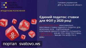 Єдиний податок: ставки для ФОП у 2020 році.