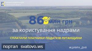 За користування надрами платники податків Луганщини сплатили понад 86 млн гривень. Новини ГУ ДПС у Луганській області