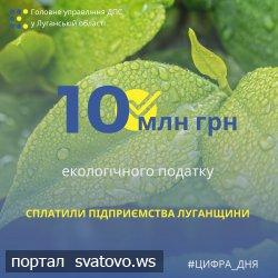 Підприємства Луганщини сплатили понад 10 млн грн екологічного податку.