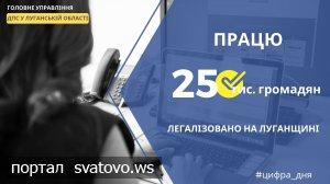 На Луганщині легалізовано працю майже 25 тис. громадян.