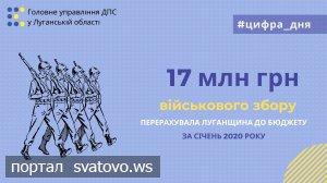Луганщина перерахувала до бюджету 17 млн гривень військового збору.
