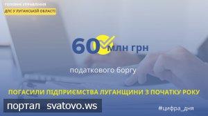 Підприємства Луганщини з початку року погасили понад 60 млн гривень податкового боргу.
