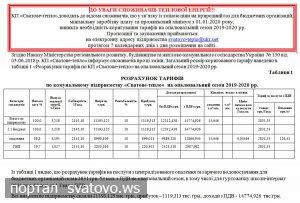 Коригування тарифів на опалювальний сезон 2019-2020 рр.. Сватівська Міська Рада